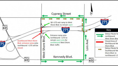 Detour Map for around-the-clock closure of northbound West Shore Boulevard under I-275