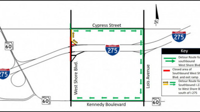 Detour map for closure of southbound West Shore Boulevard at I-275