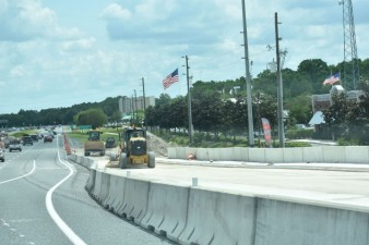 Looking east at construction of the northbound I-275 / I-75 ramp onto eastbound SR 56 (3/31/2021 photo)
