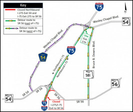 Detour map for closure of northbound I-275 / I-75 exit ramp to SR 56