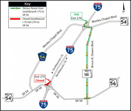 Detour map for closure of Southbound I-75 Exit 275 to SR 56
