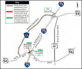 Detour map for closure of southbound I-75 ramp to westbound SR 56