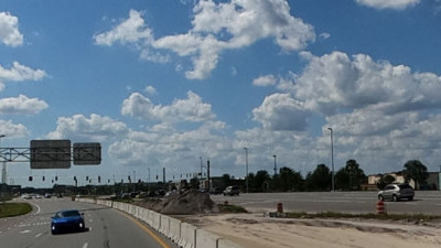 Median construction along SR 56, just east of Grand Cypress Drive (October 15, 2020 photo)