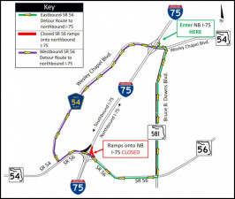 Detour map for closure of SR 56 ramp onto northbound I-75