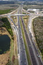 Looking north over I-75 towards SR 56 - reconstructing the interchange to a diverging diamond (2/15/2021 photo)