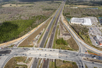 Looking north at SR 56 over I-75 - construction of new ramp alignments (2/15/2021 photo)
