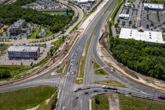 Looking east at interchange construction on SR 56 on the east side of I-75 (May 19, 2020 photo)