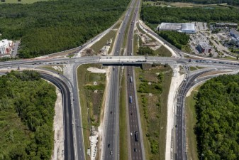 Looking north over I-75 at the SR 56 interchange (4/14/2021 photo)