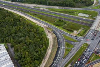 Construction along the northbound I-75 / I-275 exit ramp to SR 56 (September 15, 2020 photo)