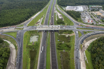 Looking north at SR 56 over I-75 with construction along all interchange ramps (September 15, 2020 photo)