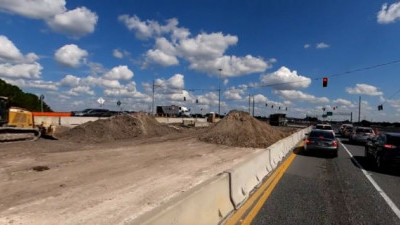 Construction in the SR 56 median at the traffic signals on the west side of I-75 (October 15, 2020 photo)